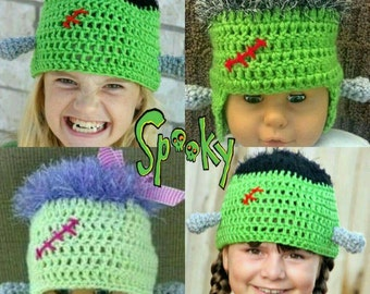 PDF Frankensteins Monster Hat Crochet Pattern Fun and Funky for Halloween Instant Download