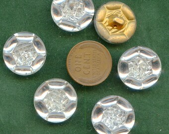 """Glass Buttons with MIRROR BACK (6) Matching Vintage Mercury Buttons New Old Stock 3/4"""" size 3495 MORE AVAIlABLE"""