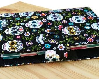 Sugar skulls on black delicate floral Mini Happy planner cover dias morte pattern optional mini happy planner