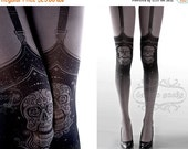 SALE//17%off// Tattoo Tights,  Day of the Dead garters print Asphalt thigh highs illusion one size full length closed toe printed tights pan