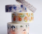 masking washi tape set of 4 ++ floral tape ++ craft diy  ++ tea party stationary ++ supplies ++ thick to thin ++ scrapbooking