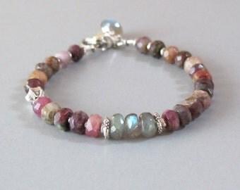 Ruby Labradorite Bracelet Sterling Silver Bead DJStrang Gemstone Color Flash Boho Cottage Chic