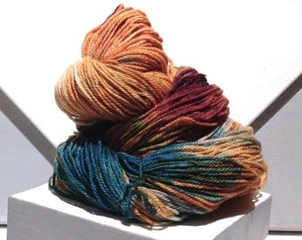 "Sock yarn, fingering weight, handpainted yarn, ""Painted Corn""  shawl yarn sock weight, yellow gold orange pink wine teal merlot apricot"