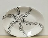 ON SALE 13.5 inch Spinal Column Pinwheel Pattern Oval Serving Platter ON Sale