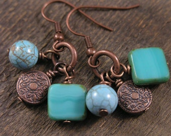 Turquoise stone, czech glass squares and antique copper charm handmade earrings