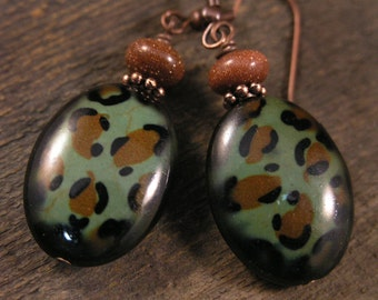 Goldstone and leopard print howlite stone handmade antique copper earrings