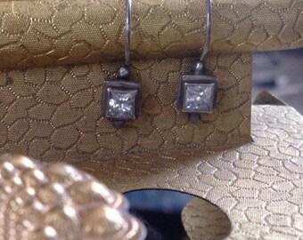 Vintage sterling Crystal stone earrings Bezel set Crystal Earrings Sterling Silver