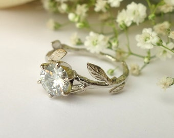Gray Moissanite Leaf Ring