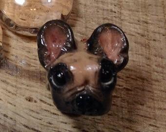 Pug Dog European Bead Handmade Charm Fawn and Black for Large Hole Bracelets