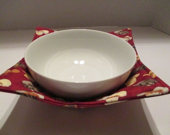Microwave bowl, cowboy hats, dark red, bowl cozy, kitchen, kitchen dining, home and living, microwave hot pad, microwave safe, bowl holder