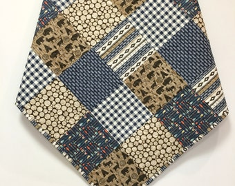Baby Boy Quilt Northwoods Woodland Tribal Rustic Deer Bear Moose Buffalo Arrows Navy Brown