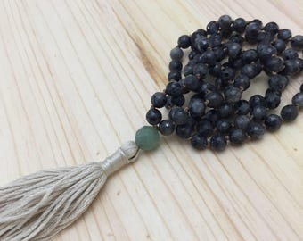 Labradorite Mala, Tassel Necklace, Yoga, Knotted Mala, 108 Beaded Mala