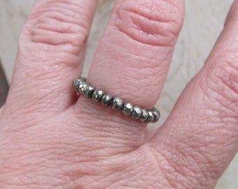 Beaded Gemstone Ring Pyrite Ring Sparkling Pyrite Gemstone Ring Beaded Stacking Ring Size 7 faceted Pyrite