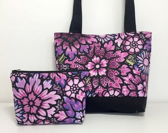 Purple Tote Bag, Fabric Tote Bag Set, Purple Floral Mosaic Purse with Cosmetic Pouch, Tote and Make Up Bag