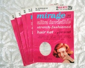 Vintage Hair Nets Mirage by Jac-O-Net No. 146 Neutral for Grey or White Hair Retro Beauty Shop 1960's