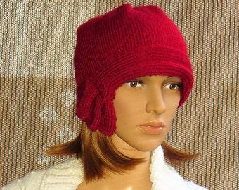 Knit Cranberry Cloche, hat cap cloche women 20s flapper red