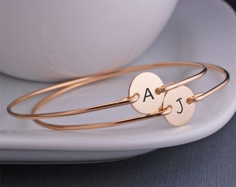 Bridesmaid Jewelry Gift, THREE Personalized Bracelet, Custom Gold Initial Bracelets, Bridesmaid Initial Charm Jewelry