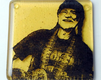 Willie Nelson Country Musician Fused Glass Coaster Guitar Activist Poet Outlaw Country