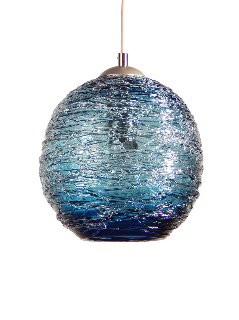 Steel Blue Spun Hand Blown Glass Pendant Hanging Lights By
