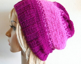 Slouchy hat magenta bright pink aubergine berry fig purple cerise stripe fair isle hand knit knitted women beanie color block READY MADE
