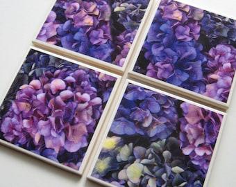 Hydrangea - Tumbled Stone Earth Coasters - art paper, botanical home décor, flower coasters, beverage coasters, travertine, hostess gift