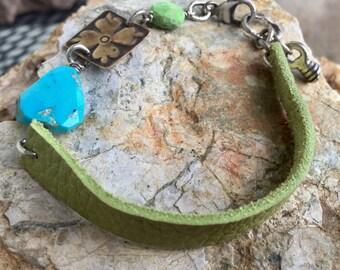 Green Suede Sleeping Beauty Bracelet