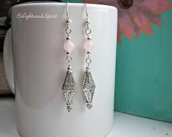 Rose Quartz dangle earrings, pink, silver, romance stone