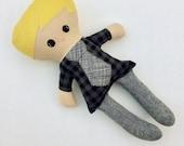 Funky Fabric Boy Doll, plaid with tie