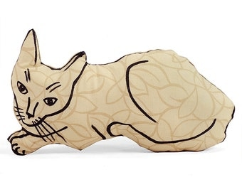 cat pillow, animal pillow, relaxed cat shaped medium pillow tan graphic patterned fabric