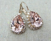 Swarovski Crystal Blush Pink Teardrop Leverback Earrings Crystal Faux Diamond Pave Halo Rose Gold Bridal Jewelry Wedding Party Gifts