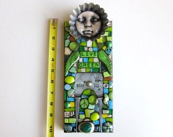 Live Green. (Handmade Mixed Media Mosaic Assemblage Wall Art by Shawn DuBois)