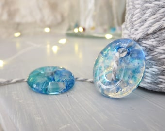 Handmade Glass Buttons. Fused Glass Buttons. Blue Transparent Buttons. Unique Buttons. Sewing Buttons