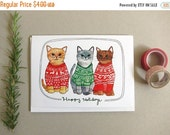 ON SALE Christmas Card - Cat Christmas Card - Cat Holiday Card - Blank Holiday Card - Cat Card - Holiday Sweater Card - Holiday Sweater Cats