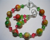 Candy Jade Bracelet and Earrings Gemstone Bracelet Swarovski Crystal Leverback Hooks Toggle Clasp Pink Green Bracelet and Earring Set
