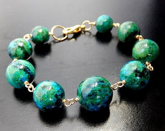 Azurite Chrysocolla Bracelet, Chunky Bracelet, Blue and Green, Gold Wire Wrapped Jewelry