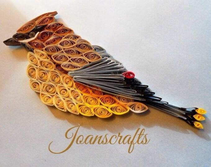 Cedar Waxwing Ornament design in Quilling