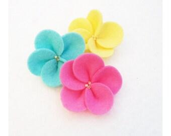 Five Petal Wool Blend Felt Flower Embellishment Set