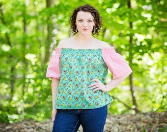 New Off The Shoulders Top Summer Blouse Top in Secret Garden