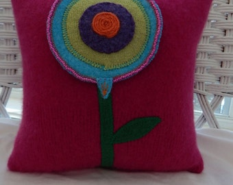 Recycled Cashmere Sweater With Big Beaded Flower Pillow - Pink
