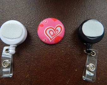 Fabric Covered Button for Clip on Retractable Badge Reel - Valentine's hearts