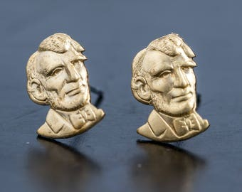Little Brass Abe Lincoln Stud Earrings
