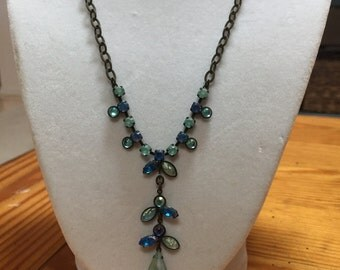 Blue and green Chrystal necklace