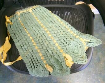 Vintage Handmade Crocheted Apron,  Ladies Antique Apron, WGV