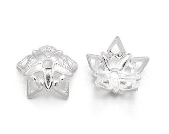 Top Quality 25pcs Silver Flower Brass Bead Caps KK-B505-S