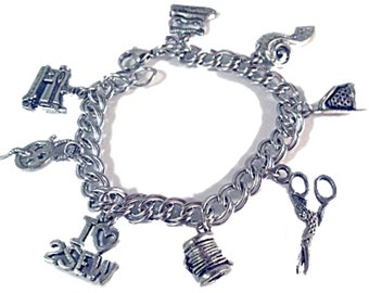 Love 2 Sew or 2 Knit Seamstress Charm Bracelet Charms Sewing Machine Scissors Needle Thread Thimble Steel or Sterling Silver Chain