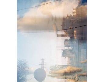 that time we crossed the bridge: pittsburgh art. surreal photography. industrial decor. clouds photo. sky blue wall art. multiple exposure.