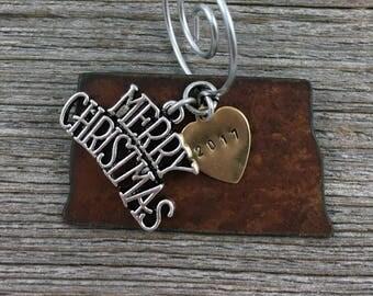 NORTH DAKOTA Christmas Ornament SMALL, North Dakota Ornament, Christmas Gifts 2017, Personalized Gift, State Christmas Ornaments