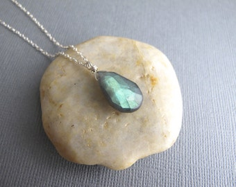 Labradorite Necklace, Blue Flash Gemstone, Sterling Silver Chain, Gift for Her