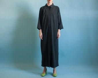black maxi shirt dress / oversized minimalist dress / long black dress / s / m / l / 2057d / B3