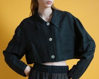 black linen crop top / cropped blouse / button down top / m / 2005t / B18